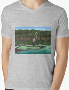 Blue Heron on Irondequoit Creek Rochester NY Mens V-Neck T-Shirt
