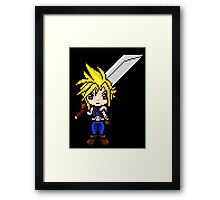 Cloud Strife Pixel Art Framed Print