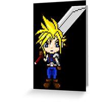 Cloud Strife Pixel Art Greeting Card