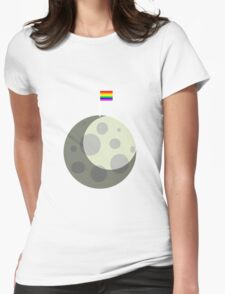 Rainbow Gay Pride Flag On Moon Womens Fitted T-Shirt