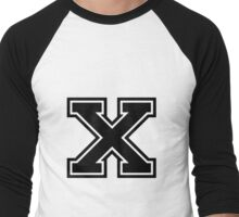 "Letter ""X""  - Varsity / Collegiate Font - Black Print Men's Baseball ¾ T-Shirt"