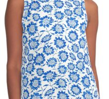 Blue Sunflowers Contrast Tank