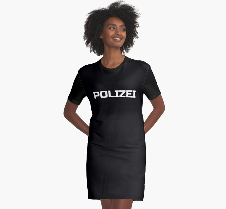 Black German Police - Die Polizei - Fashion T-Shirt by deanworld