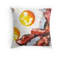 Eggs and Bacon Painting Throw Pillow