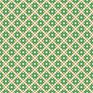 Pastel Green Beige Crisscross Pattern by donnagrayson
