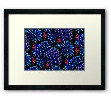 Cactus Floral - Bright Blue/Red Framed Print