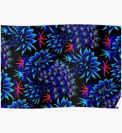 Cactus Floral - Bright Blue/Red Poster