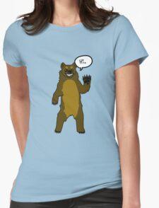 Friendly Cartoon Bear Womens Fitted T-Shirt