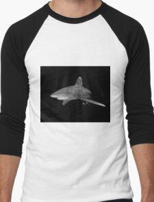 An Oceanic White Tip Shark and Pilot Fish in Black and White Men's Baseball ¾ T-Shirt