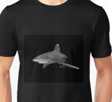 An Oceanic White Tip Shark and Pilot Fish in Black and White Unisex T-Shirt