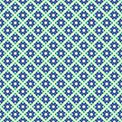 Pastel Turquoise Blue Green Crisscross Pattern by donnagrayson