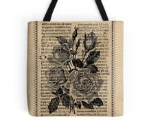 Antique Bible Roses Tote Bag