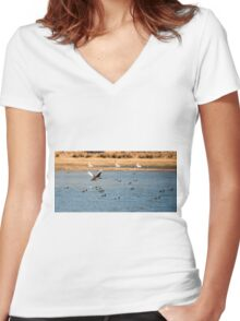 Black swan flying above water Women's Fitted V-Neck T-Shirt