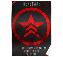 Renegade Mass Effect Poster Poster