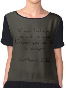 Matthew 21:22 | dark grey & black Chiffon Top