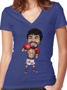 Manny Pacquiao Cartoon Women's Fitted V-Neck T-Shirt