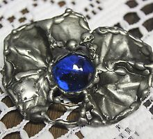 Blue Glass jewel brooch by Maree  Clarkson