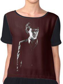 Sherlock standing in dark red Chiffon Top