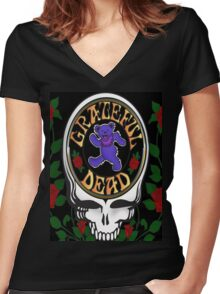 Grateful Dead Skull and Bear Women's Fitted V-Neck T-Shirt