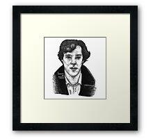 Sherlock black white 00002 Framed Print