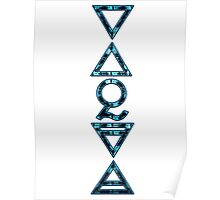 FOUR ELEMENTS PLUS ONE V  - bright blue grunge Poster