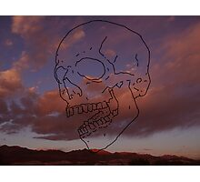 skull w/ some clouds behind Photographic Print