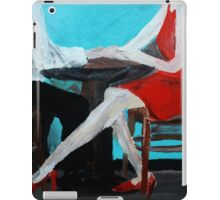 Red Dress Cafe Lovers Acrylic Painting On Paper iPad Case/Skin