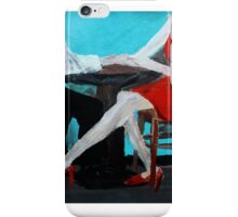 Red Dress Cafe Lovers Acrylic Painting On Paper iPhone Case/Skin