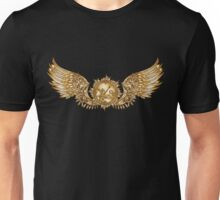 Mechanical wings in steampunk style with clockwork. Gold and black color. Unisex T-Shirt