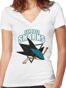 Sharks On Fire Women's Fitted V-Neck T-Shirt
