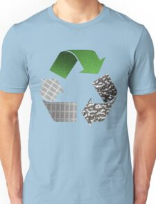 Recycle symbol with newspaper glass and metal Unisex T-Shirt