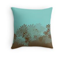 Teal and Brown Azalea pattern Throw Pillow