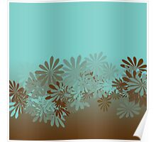 Teal and Brown Azalea pattern Poster