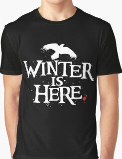 Winter is Here - Small Raven on Black Graphic T-Shirt