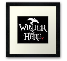 Winter is Here - Small Raven on Black Framed Print