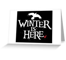 Winter is Here - Small Raven on Black Greeting Card