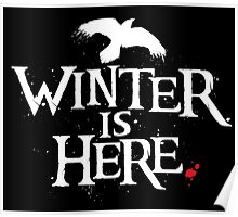 Winter is Here - Small Raven on Black Poster