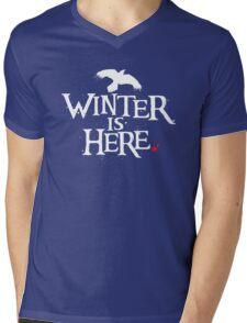 Winter is Here - Small Raven on Black Mens V-Neck T-Shirt