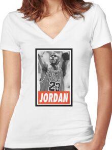 (BASKETBALL) Michael Jordan Women's Fitted V-Neck T-Shirt