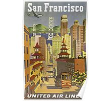 San Francisco United Air Lines Vintage Travel Poster Poster
