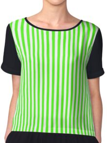 Slimming Green Striped Dress Chiffon Top