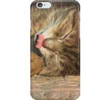 Tabby cat with toy mouse licking lips iPhone Case/Skin