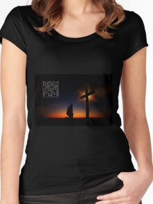 Prayer at Sunset Silhouette - Serenity Prayer Women's Fitted Scoop T-Shirt