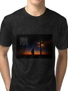 Prayer at Sunset Silhouette - Serenity Prayer Tri-blend T-Shirt