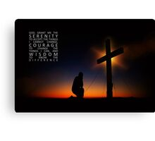 Prayer at Sunset Silhouette - Serenity Prayer Canvas Print