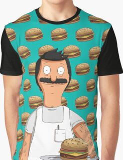 Bob Belcher Burger Pattern Blue Graphic T-Shirt