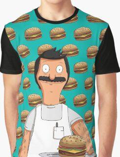 Bob Belcher Burger Pattern Blue Graphic T-Shirt