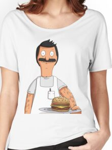 Bob Belcher Burger Pattern Blue Women's Relaxed Fit T-Shirt