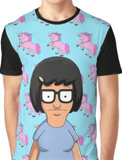 Tina Belcher Unicorn Pattern Blue Graphic T-Shirt
