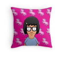 Tina Belcher Unicorn Pattern Hot Pink Throw Pillow